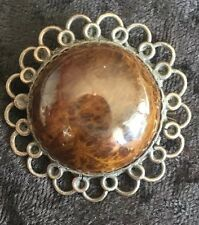 Vintage Sterling Silver Amber Pin / Brooch Antique Lace Stamped