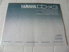 Yamaha CD-X3 Owner's Manual  Operating Instruction   New