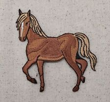 Iron On Embroidered Applique Patch Tan Brown Horse Facing Left Equestrian