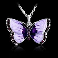 New Fashion Women Jewelry Enamel Butterfly Crystal Silver Pendant Necklace Chain