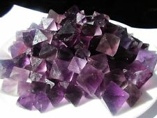 100g TOP!!! Natural Purple Fluorite Crystal Octahedrons Rock Specimen China