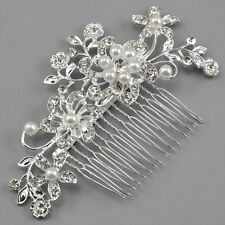 Bridal Wedding  Women Crystal Rhinestones Pearls Diamante Flower Hair Comb Clip