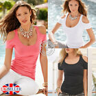 UK Womens Short Sleeve Sexy T Shirt Blouse Ladies Summer Off Shoulder Casual Top
