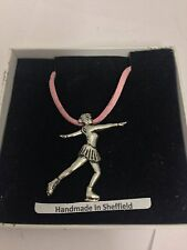 Figure Skater Sport PP-SP17 Pewter Pendant on a PINK CORD Necklace