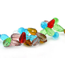 1 SRAND 50 MIXED TEARDROP FACETED CRYSTAL GLASS BEADS~15x10mm~NECKLACE (58C) UK