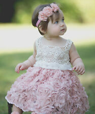NWT Just Couture Baby Girls Pink Rosette Easter Dress Size 2T Crochet Bodice