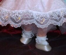 "Prettiest White Satin Slip On Doll Shoes for 8"" Alexander & Ginny"