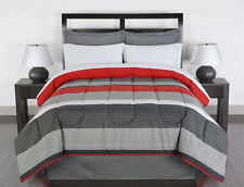 Red Gray White Striped 8 piece Queen Size Comforter Bedding Set