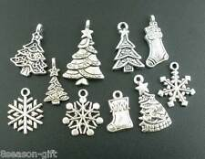 40Pcs Gift Mixed Silver Tone Christmas Motif Charms Pendants