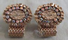 Men Vintage RARE AB RHINESTONES Mesh CUFFLINK Wrap Around Jewelry Accessory M46
