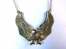 ELEGANT GOLDEN EAGLE NECKLACE BRAND NEW TRENDY AMERICAN THEME (CL1)