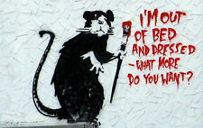 """Banksy Im Out Of Bed Large  A1 30"""" x 20"""" Canvas Print"""