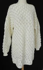 New Hand Chunky Knit Tunic Sweater /Dress White Long Sleeve Size M (Over sized)