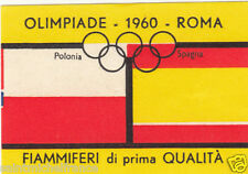 POLAND POLSKA SPAIN ESPANA Olympic Games 1960 ROMA FLAG MATCHBOX LABEL 60s