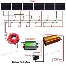 1KW Solar Off Grid System Kit: 6*180W Solar Panel w/ 1500W Inverter 24V-110V