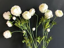 Bunch of Faux Silk White Ranunculus Flowers, Realistic Artificial Wild Flowers