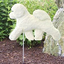 Bichon Frise Outdoor Garden Sign Hand Painted Figure