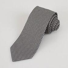 New BATTISTI NAPOLI Gray with Check Pattern 100% Linen Neck Tie $225