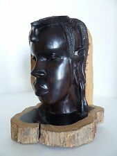 Beautiful Solid Wood Carving Sculpture African Woman Dark Brown Head Bust