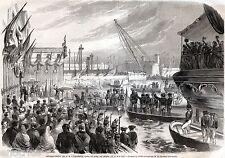 GENOVA,Porto,12 Maggio 1859: Sbarco di Napoleone III.Risorgimento. Stampa Antica