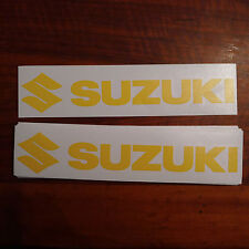 "#273 (2) 9"" x 1.5"" Suzuki Logo Motorcycle Car Decals Stickers GLOSS YELLOW"