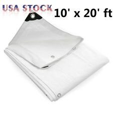 10' x 20' ft 12 mil Heavy Duty Canopy Tarp White 3pl Coated Tent Car Boat Cover