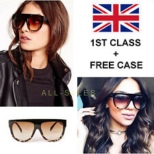 BLACK OVERSIZED TORTOISE SHELL KIM KARDASHIAN STYLE SUNGLASSES 400 UV FREE CASE