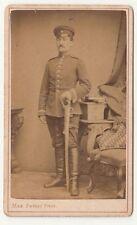 CdV Foto berittener sächsischer Soldat mit Säbel um 1880 ! (F800