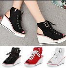 New Womens Canvas Open Toe Wedge Lace Up Slingbacks Sneakers Preppy Sandal Shoes