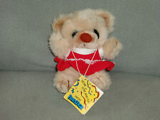 "PRESTIGE STUFFED PLUSH TEDDY BEAR BROWN CREAM TAN BEIGE RED DRESS 6"" NEW"