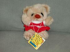 "PRESTIGE STUFFED PLUSH TEDDY BEAR BROWN CREAM TAN BEIGE RED DRESS 6"" NEW"