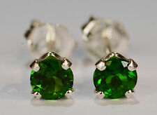 PRETTY! GENUINE NATURAL MINED CHROME DIOPSIDE EARRINGS~STERLING SILVER~4MM