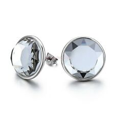 Stainless Steel Round Shiny Crystal Stud Earrings Mens Ladies Gifts