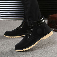 Fashion Men Boy Ankle Boots Fur Lined Winter Snow Warm Martin Boots Shoes 42 Y#