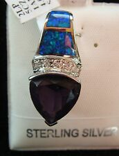 Inlaid Opal & Amethyst Pendant set in Sterling Silver with CZ Accents