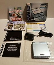 Nintendo Game Boy Advance SP Pearl Blue AGS-101 Handheld System w/ box & manuals