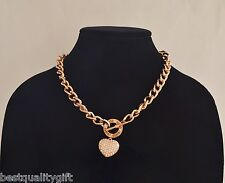 NEW GUESS ROSE GOLD TONE TOGGLE PUFFED HEART CHARM NECKLACE+RHINESTONE