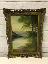 Antique Cecil Wallinger British Signed Oil Painting on Board Mountain Landscape