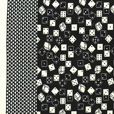 Black Natural Roll of the Dice Double Border By the yard Michael Miller