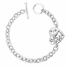 """100% 925 Sterling Silver """"I Love You To The Moon and Back"""" Heart Toggle Bracelet"""