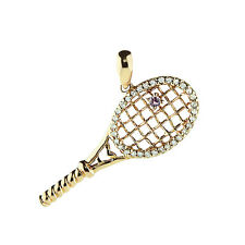 14K YELLOW GOLD DIAMOND & PINK SAPPHIRE TENNIS RACKET BALL PENDANT NECKLACE