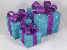 3 Piece Turquoise & Purple Glitter Christmas Parcel Set With White LEDs RA10262