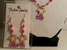 "Handmade Pink & Tan Glass Bead ""Winnie The Pooh"" Piglet Earrings & Necklace Set"