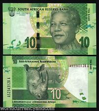 SOUTH AFRICA 10 RAND P133a 2012 NELSON MANDELA RHINO UNC CURRENCY MONEY BIL NOTE