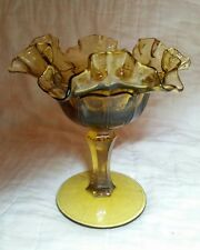"""Fenton Red Cliff Amber Ruffled Edge Compote 6"""""""
