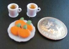 Dollhouse mini 1:12 handcrafted Halloween plate pumpkin cookies w/2 filled mugs