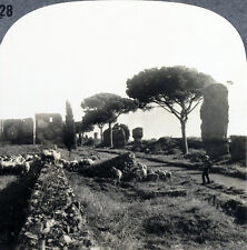 Keystone Stereoview of Tombs along Appian Way, ITALY Type B from 1930's T600 Set