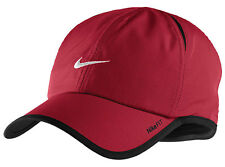 New Nike Feather Light Cap Hat Dri Fit Running Tennis Red / White SWOOSH 595510