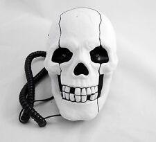 Human Head Skull Shape Flashing Novelty Home Phone Wired Telephone white i