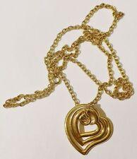 pendentif chaine bijou vintage rétro coeur mobile couleur or signé * 3615